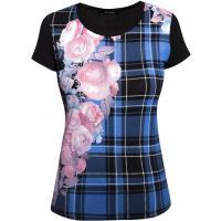 Monnari T-shirt w kratę z różami TSH2500