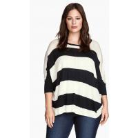 H&M H&M+ Cienki sweter 0252593016 Biały/Paski