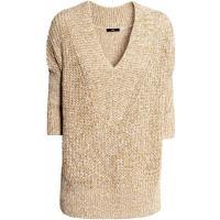 H&M Sweter w prążek 0258323012 Beżowy melanż