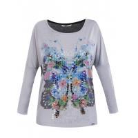 Monnari T-shirt z motylem i cekinami TSH5400