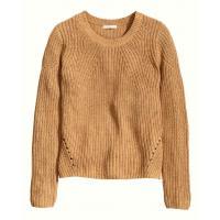H&M Sweter z dzianiny w prążek 0308982006 Camel