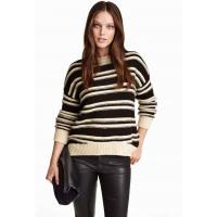 H&M Sweter 0303770001 Czarny/Paski