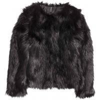 H&M Kurtka z imitacji futra 0335433001 Czarny