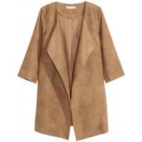 H&M Płaszcz z imitacji zamszu 0368140001 Beżowy