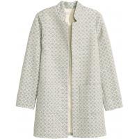 H&M Żakardowy płaszcz 0368159006 Naturalna biel/Wzór