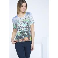 Monnari Wzorzysty t-shirt z połyskiem TSH2750
