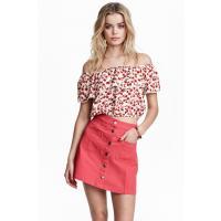 H&M Trapezowa spódnica 0366715005 Czerwony