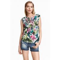 H&M Bawełniana bluzka we wzory 0350210003 Naturalna biel/Kwiaty