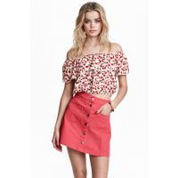 H&M Trapezowa spódnica 0366715015 Czerwony