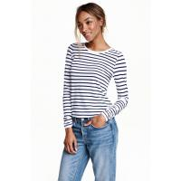 H&M Long-sleeved jersey top 0417480001 White/Dark blue/Striped