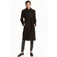 H&M Płaszcz z domieszką wełny 0409498001 Czarny
