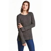 H&M Sweter w prążki 0390157006 Ciemnoszary melanż