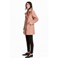 H&M Płaszcz z domieszką wełny 0411607002 Pudrowy