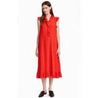 H&M Sukienka z falbanami 0429347002 Czerwony