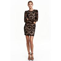 H&M Koronkowa sukienka 0426996001 Czarny