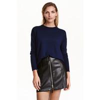 H&M Cienki sweter 0390125022 Ciemnoniebieski melanż