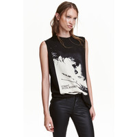 H&M Koszulka z nadrukiem 0257600016 Czarny/Edward Nożycoręki