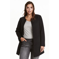H&M H&M+ Tkaninowy płaszcz 0406211001 Czarny