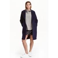 H&M Krótki płaszcz z wełną 0397438001 Ciemnoniebieski