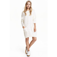 H&M Sweter w warkoczowy splot 0442521001 Biały