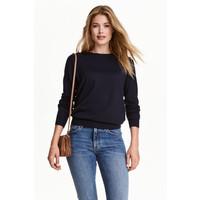 H&M Sweter z wełny merynosowej 0317458009 Ciemnoniebieski