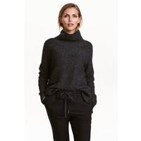 H&M Sweter z kołnierzem golfowym 0390129007 Czarny melanż