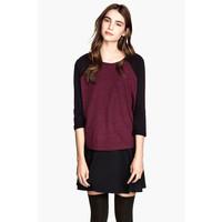 H&M Top z dżerseju 0226078020 Burgund/Czarny