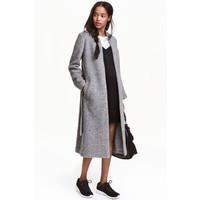 H&M Płaszcz z domieszką wełny 0429502001 Szary melanż