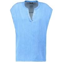 Vila VIELECTRIC T-shirt z nadrukiem medium blue denim V1021E0A9-K11