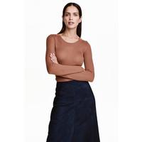 H&M Sweter o splocie w prążki 0410331006 Brązowy