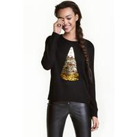 H&M Świąteczny sweter z cekinami 0428993001 Czarny/Pizza
