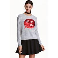 H&M Świąteczny sweter z cekinami 0428993001 Szary melanż