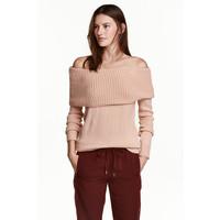 H&M Sweter z odkrytymi ramionami 0443214003 Pudrowy