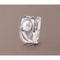 Tchibo Srebrny pierścionek z szarą perłą z jądra muszli i cyrkonią* 400105064