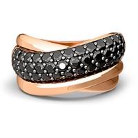 Tchibo Srebrny pierścionek z cyrkoniami, pozłacany różowym złotem 400079443
