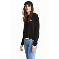 H&M Cienki sweter z kapturem 0448562005 Czarny
