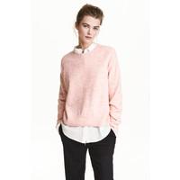 H&M Sweter oversize 0448193002 Jasnoróżowy melanż
