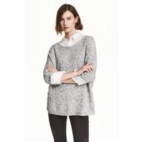 H&M Sweter robiony lewym ściegiem 0244267004 Szary