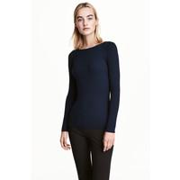 H&M Dopasowany sweter 0461749004 Ciemnoniebieski