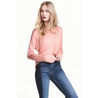 H&M Cienki sweter 0459889001 Pudroworóżowy