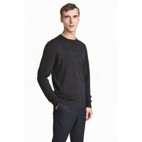 H&M Sweter z wełny merynosowej 0378135002 Ciemnoszary melanż