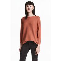 H&M Sweter o splocie w prążki 0411973005 Rdzawy