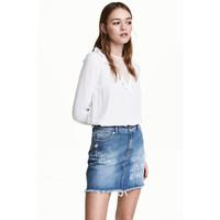 H&M Bluzka z koronkowym karczkiem 0457449001 Biały