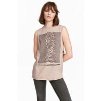 H&M Koszulka z nadrukiem 0257600016 Beżowy/Joy Division