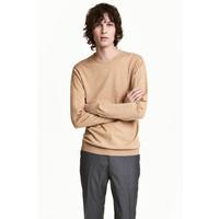 H&M Sweter z bawełny premium 0443638002 Beżowy melanż
