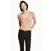 H&M Sweter w prążki 0485814001 Beżowy