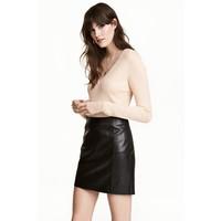 H&M Sweter w prążki 0485814001 Pudrowobeżowy