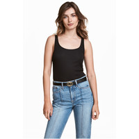 H&M Koszulka w prążki 0478843009 Czarny
