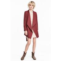 H&M Drapowany płaszcz 0320686007 Ciemnoczerwony