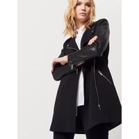 Mohito Czarny płaszcz z rękawami z eko skóry QF339-99X